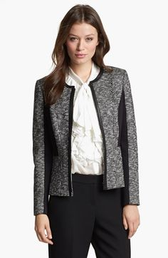 Classiques Entier® Houndstooth Knit Jacket in Black and White | Nordstrom