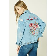 Forever21 Floral Embroidered Denim Jacket ($35) ❤ liked on Polyvore featuring outerwear, jackets, denim, blue denim jacket, distressed jacket, distressed denim jacket, long denim jacket and pocket jacket