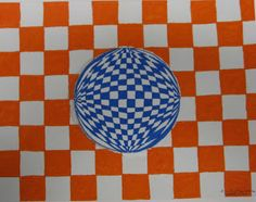 Kids love the power of being able to create optical illusions - and they're always shocked at how easy it is! I've done this lesson with stu. High School Art, Middle School Art, Op Art Lessons, Opt Art, 5th Grade Art, Student Drawing, Teaching Art, Optical Illusions, Creative Art