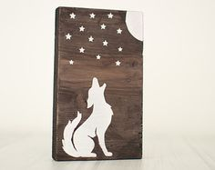 Wooden mount with wolf and stars silhouette. Nursery decor
