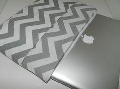 Mac Book Laptop sleeve, 13 INCH / Zipper close,  shoulder bag, Messenger Strap, Gray  by Darby Mack via Etsy