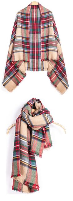 """""""Check Print Fringe Red Scarf at romwe.com .Cheap ladies scarf or scarves for women. Shawl scarves with plaid print for fall scarf .Classic will never fade ....... """""""