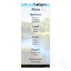 Designs by Susan Savad - Peaceful Lake Wedding Menu -- Summer wedding menu that you can customize yourself. #wedding #weddingmenu #customize #summer  #lake $0.55  per card   BULK PRICING AVAILABLE!
