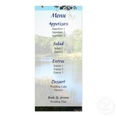 Designs by Susan Savad - Peaceful Lake Wedding Menu -- Summer wedding menu that you can customize yourself. #wedding #weddingmenu #customize #summer  #lake $0.55  per card   BULK PRICING AVAILABLE!