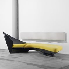 ZAHA HADID    Wave sofa    Edra  United Kingdom/Italy, 1988  lacquered fiberglass, upholstery, lacquered wood  142 w x 81.5 d x 47 h inches