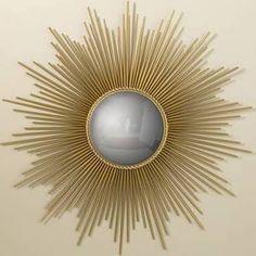 I love sunburst mirror because of it's deco glare. Gold Sunburst Mirror, Sun Mirror, Brass Mirror, Circle Mirrors, Mirror Room, Convex Mirror, Casa Art Deco, Art Deco Home, Muebles Art Deco
