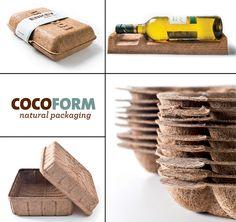 Natural Packaging Cocoform - ENKEV Takeaway Packaging, Vegetable Packaging, Food Packaging Design, Coffee Packaging, Packaging Design Inspiration, Brand Packaging, Product Packaging, Biodegradable Packaging, Biodegradable Products