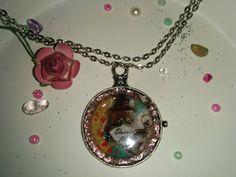 Alice in Wonderland Silver Pocket Watch Pendant Drinke Me Potion