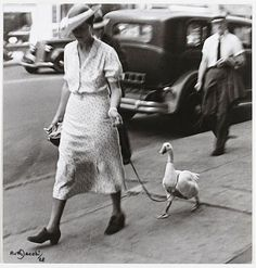 vintage everyday: A woman walking with a goose in New York street, ca. 1928