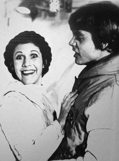 Carrie Fisher as Princess Leia and Mark Hamill as Luke Skywalker from Star Wars The Empire Strikes Back