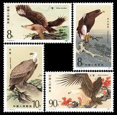 Postage Stamps Chinese Raptors Elanus Eagle Vulture Buteo Bird