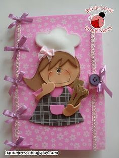 Lily-Baby-Shop: Caderno de Receitas em EVA Foam Crafts, Arts And Crafts, Paper Crafts, Diy Crafts, Baby Shop, Cute Notebooks, Diy Notebook, Foam Sheets, Book Making