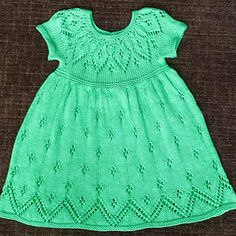 Lace Dress Knitting Pattern for babies up to 6-year-old girls. Lace yoke, top down, knit seamlessly.