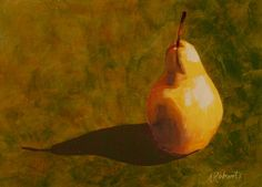 Pear acrylic 5x7 still life painting by annarobertsart on Etsy, $75.00