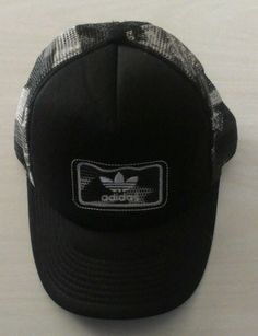 ADIDAS CAMO TRUCKER CAP BLACK/WHITE/GRAY Logo Hat Mesh  #adidas #Trucker ($16.51 13...BIDS)