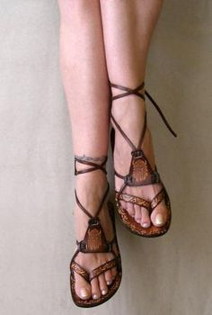 $70.00 Leather Sandals  Fantasy II by Calpas on Etsy