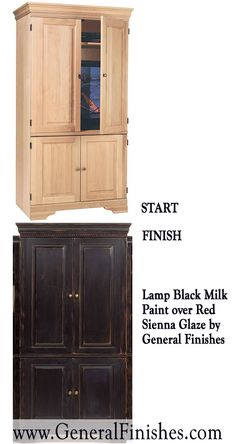 """Change the look of a room with a coat of milk paint from General Finishes on unfinished wood furniture! Not really a """"milk"""" paint but a smooth working 100% water base acrylic paint, perfect for indoor/outdoor furniture & projects - http://www.generalfinishes.com/retail-products/water-base-milk-paints-glazes. Intermixable & safe. Mix it, lighten it, distress it, glaze it, antique it. Buy at Rockler & Woodcraft Woodworking stores. Find more stores at http://www.generalfinishes.com/where-buy."""