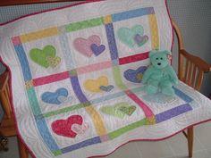 Sweet Hearts Baby Quilt. $85.00, via Etsy.