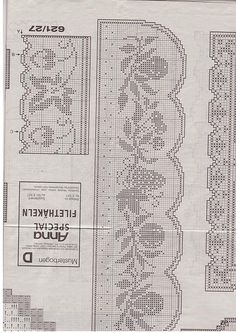 Kira scheme crochet: Scheme crochet no. Filet Crochet Charts, Crochet Motifs, Crochet Borders, Crochet Diagram, Crochet Doilies, Crochet Stitches, Crochet Curtains, Crochet Tablecloth, Doily Patterns