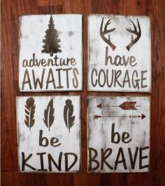 A personal favorite from my Etsy shop https://www.etsy.com/listing/281572654/rustic-nursery-signs-be-brave-have