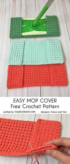 Easy Mop Cover Free Crochet Pattern easy pattern reusable crunch stitch last minute gift idea You definitely don't want to miss this pattern. This is a very useful mop cover and easy to make. Its strong texture, needed for washing and scrubbing, was Excep Crochet Gifts, Knit Crochet, Crochet Ideas, Diy Crochet Projects, Crochet Hoodie, Crochet Geek, Patron Crochet, Diy Crafts Crochet, Crochet Baby Cocoon