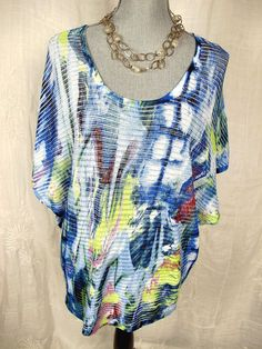 ALBERTO MAKALI L Top Blue White Art To Wear Lagenlook Blouse Shirt S M L XL OSFM #AlbertoMakali #Blouse #Casual