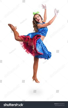 Disco dancer woman showing some movements against isolated white background