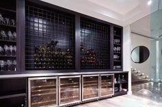 Top 80 Best Wine Cellar Ideas - Vino Room Designs Wine Glass Storage, Wine Glass Shelf, Wine Wall, Glass Shelves, Wall Shelves, Shelving, Contemporary Wine Racks, Modern Wine Rack, Contemporary Style