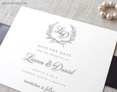Laurel Wreath Monogram Save the Date Deposit by LoloLincoln, $50.00