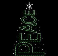 PEACE Christmas Tree Rhinestone Motif Design by BlingnPrintStreet
