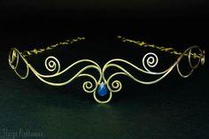 Elven tiara Blue chalcedony tiara Brass tiara by StasyaWireWrap
