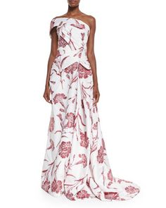 One Shoulder Carnation Fil Coupe Gown, Red Rose/White by Carolina Herrera at Neiman Marcus.