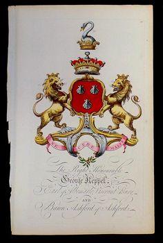 Coat of arms of George Keppel (1724–1772), 3rd Earl of Albemarle (E 1697), Joseph Edmondson's Baronagium Genealogium, London, 1764-1784.