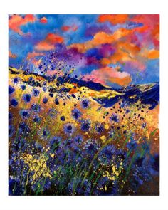 Blue Cornflowers 56 Giclee Print by Ledent at Art.com