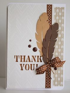 handmade thank you  card from My creative corner ...  feather focal point ... die cuts ..  monocorimatic browns ... polka dots on ribbon and side strip ... like it!