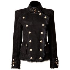 BALMAIN Shearling Double-Breasted Jacket in Black ($3,249) via Polyvore