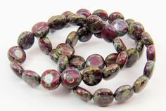 10mm Dark Red Coin Silver Gray Travertine Picasso Speckled Finish Opaque Pressed Czech Glass Lentils15 Beads CPR052