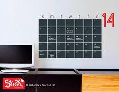 Calendar Wall Decal  Chalkboard Calendar Decal  by StickStudioLLC, $43.60