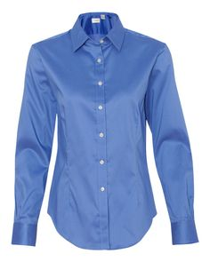 Danish Blue Ladies Sateen Stretch Shirt From Van Heusen - 13V0219