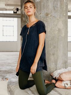 Work Hard Play Hard Tee | Cotton tunic-length tee featuring strappy neckline detail and keyhole cutout. Washed fabrication and raw trims make for a lived-in look. Side vents and relaxed silhouette make for an easy, effortless fit.