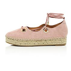 5f5f97f225c7ed Pink eyelet lace-up espadrilles Lace Up Espadrilles