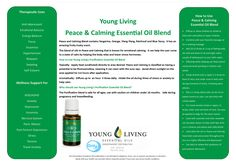 The Peace and Calming Essential Oil Blend  promotes just what it's name describes, Peace and Calming.  This oil smells amazing, and is for sure one of my top favorites.  I use it daily both for mys...