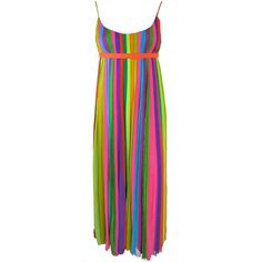 Pre-owned Vintage 1970's era silk chiffon rainbow stripe pleated dress ($450) ❤ liked on Polyvore featuring dresses, empire waist dresses, evening dresses, pre owned dresses, preowned dresses, vintage pleated dress, vintage cocktail dress and belted dress