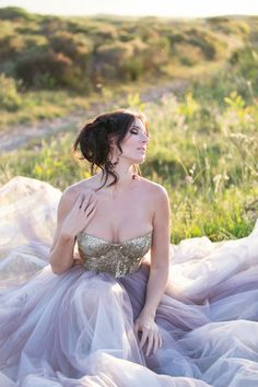 Gold Glitter Sequin and Tulle Wedding Dress 10 Mine: ivory corset and purple/ivory tulle.