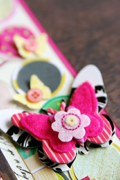 Don't be afraid to layer with lots of fun patterns. scrapbook embellishments