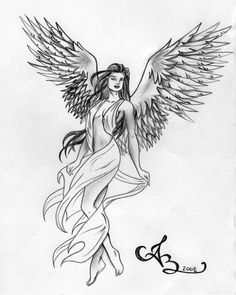 Here is a drawin gof an angel I did for a friend of mine. He wanted me to draw a tattoo of an angel that would span the whole of his back. A Peaceful Grace Angel Demon Tattoo, Guardian Angel Tattoo, Angel Tattoo For Women, Angel Sketch, Angel Drawing, Virgo Tattoo Designs, Angel Tattoo Designs, Angel Artwork, Fairy Drawings