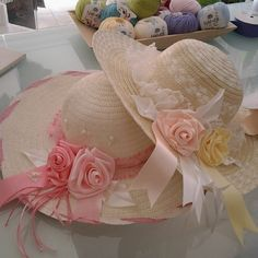 # hat # ribbon # decoration # handmade # hat # ribbon girl's fingers # well being Handmade Ribbon Tea Hats, Tea Party Hats, Funky Hats, Cool Hats, Spring Hats, Summer Hats, Ribbon Decorations, Holiday Hats, Diy Hat