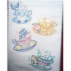 Princess teacups ☕️ #available #tattoo #luckycattattoo #luckycattattooparlour…