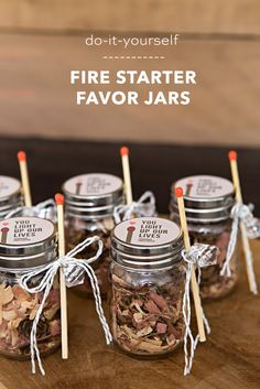 These DIY fire starter favor jars are the absolute cutest! diy favors cheap OMG, These DIY Fire Starter Wedding Favor Jars Are The Cutest! Wedding Favour Jars, Creative Wedding Favors, Inexpensive Wedding Favors, Cheap Favors, Wedding Gifts For Guests, Rustic Wedding Favors, Unique Wedding Favors, Rustic Weddings, Christmas Wedding Favors
