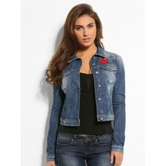 Slightly faded denim jacket for a vintage touch. Pleasantly trendy piece, with multiple patches for pop art style that looks great with a printed tee.Guess